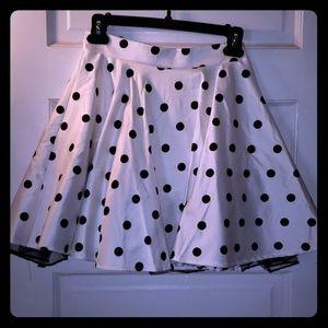 White with black polka dots tulle skirt